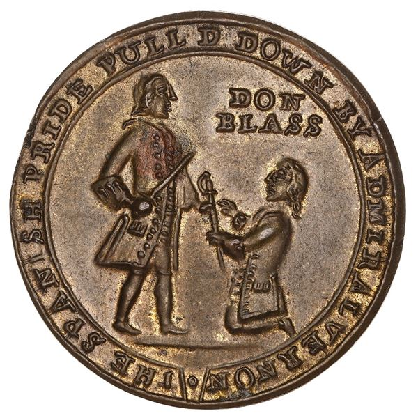 Great Britain, small-sized copper-zinc Admiral Vernon medal, 1739, Porto Bello, Vernon and Lezo, ex-