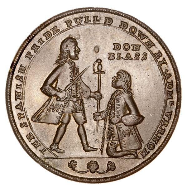 Great Britain, copper-zinc Admiral Vernon medal, 1739, Porto Bello, Vernon and Lezo, ex-Adams (Plate