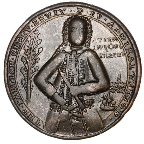 Great Britain, copper-zinc Admiral Vernon medal, 1739, Porto Bello, Fort Chagres, ex-Adams.