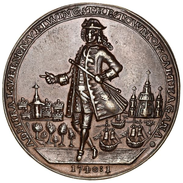Great Britain, copper-zinc Admiral Vernon medal, 1741, Cartagena, ex-Adams.