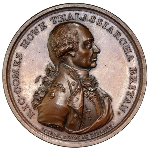 Great Britain, high-relief copper medal, Admiral Earl Howe, 1794, Battle of the Glorious First of Ju