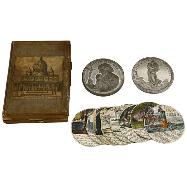 """Papal States (Italian States), tin """"steckmedaille"""" box medal, ca. 1823, death of Pope Pius VII (1800"""