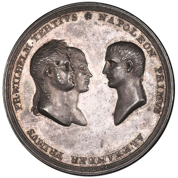 Russia, specimen silver medal, 1807, Alexander I, treaties of Tilsit, by Abramson, PCGS SP63.