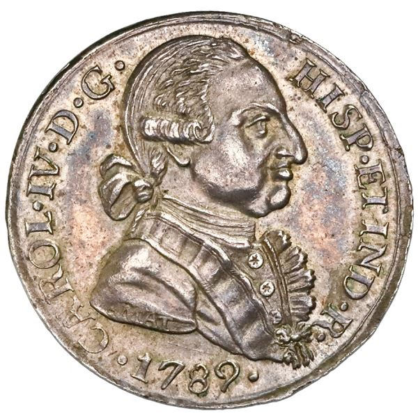Antequera, Spain, silver proclamation medal, Charles IV, 1789, by J. Amat, dots in obverse legend, N