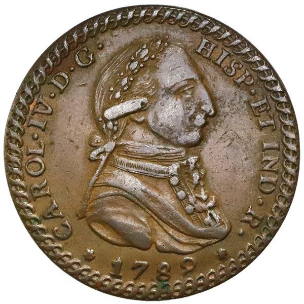 Jerez de la Frontera, Spain, bronze proclamation medal, Charles IV, 1789, NGC AU 50 BN, finest known
