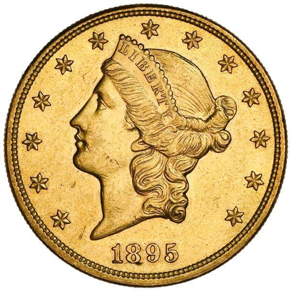 USA (Philadelphia Mint), $20 coronet Liberty double eagle, 1895, NGC UNC details / cleaned.