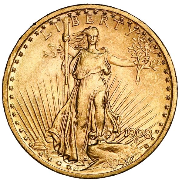 USA (Philadelphia Mint), $20 Saint Gaudens double eagle, 1908, no motto, NGC MS 63.