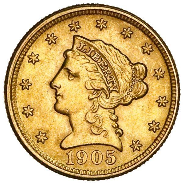 USA (Philadelphia Mint), Liberty Head $2-1/2 quarter eagle, 1905, NGC MS 62.