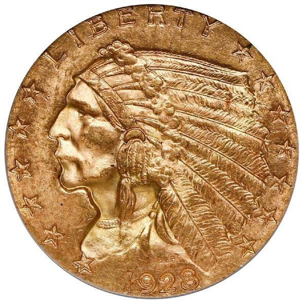 USA (Philadelphia Mint), Indian Head gold $2-1/2, 1928, NGC MS 64.