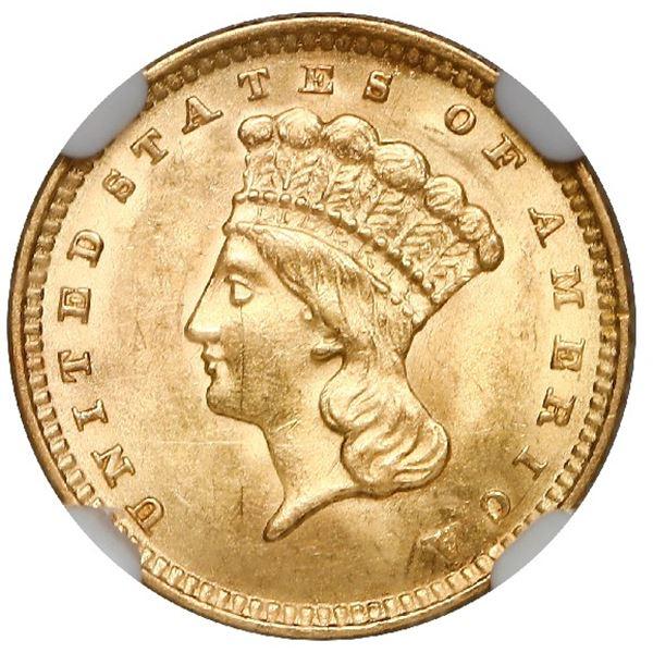 USA (Philadelphia Mint), Indian Head gold dollar, 1862, type three, NGC MS 61.