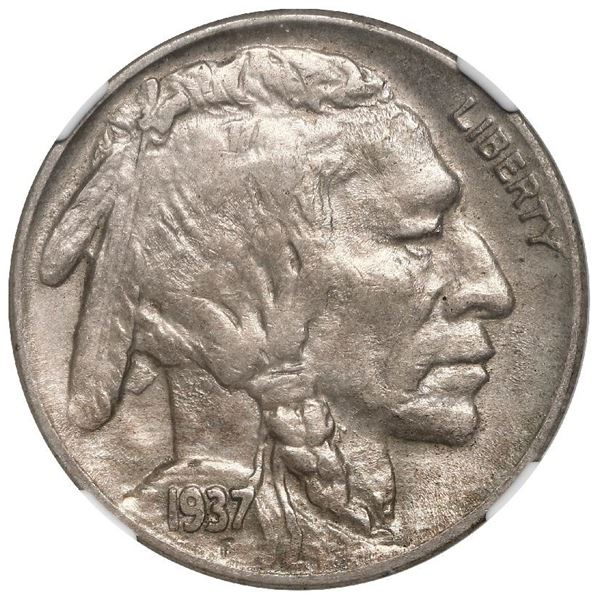 USA (Denver Mint), Buffalo 5 cents, 1937-D, three-legged buffalo, NGC AU 58.