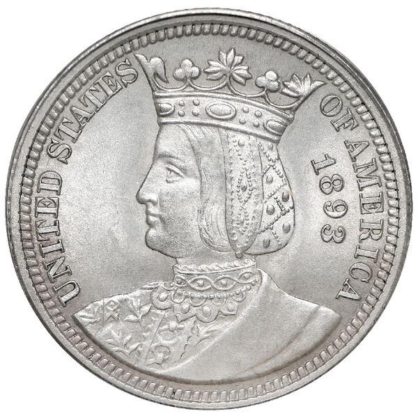 USA (Philadelphia Mint), Isabella commemorative silver quarter, 1893, PCGS MS63.