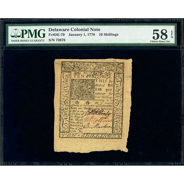 Delaware, General Assembly, 10 shillings, January 1, 1776, serial 72676, PMG Choice AU 58 EPQ.