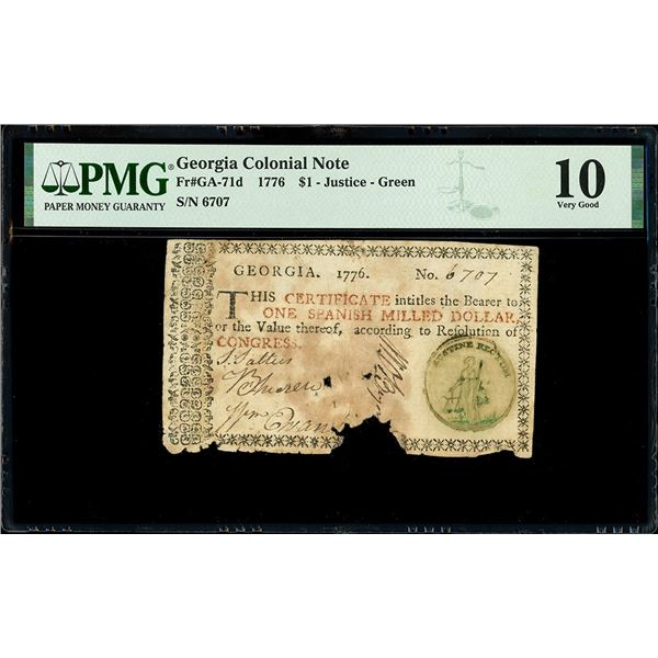 Georgia, 1 dollar, 1776, serial 6707, green Justice seal, PMG VG 10, with early 1800s English collec