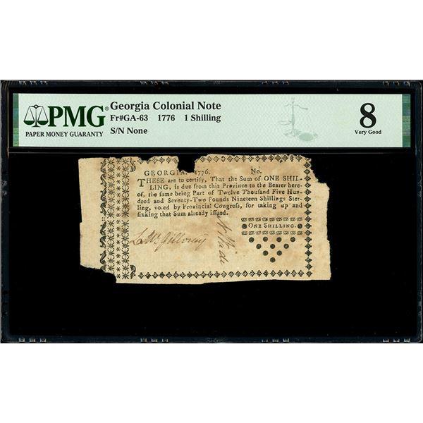 Georgia, 1 shilling, 1776, PMG VG 8.