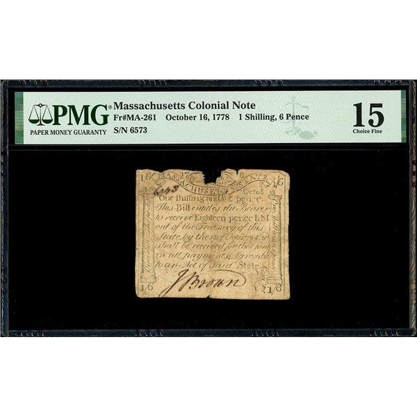 "Boston, Massachusetts, 1 shilling and 6 pence, Oct. 16, 1778, serial 6573, ""codfish"" note engraved b"