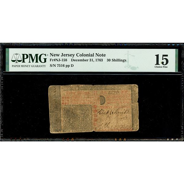 New Jersey, 30 shillings, Dec. 31, 1763, serial 7516, plate position D, PMG Choice Fine 15.