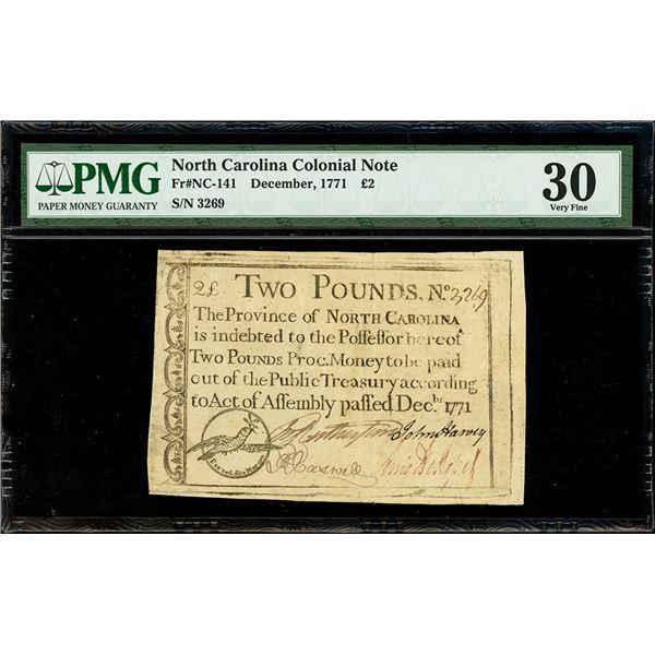 North Carolina, 2 pounds, December 1771, serial 3269, PMG VF 30.
