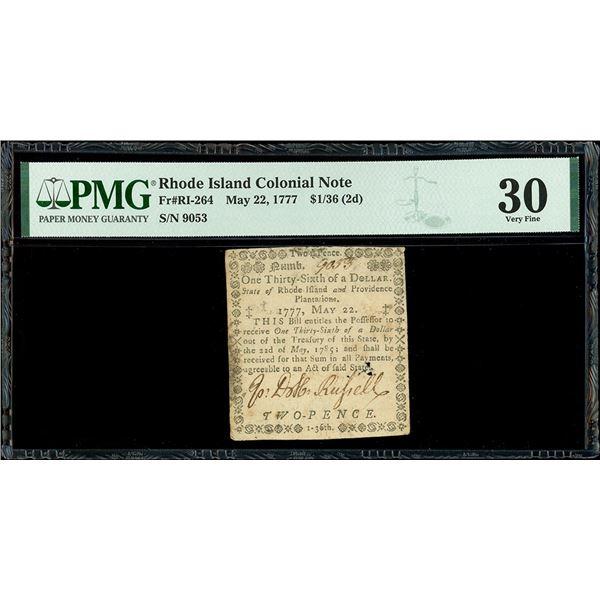 Rhode Island, $1/36, May 22, 1777, serial 9053, PMG VF 30.