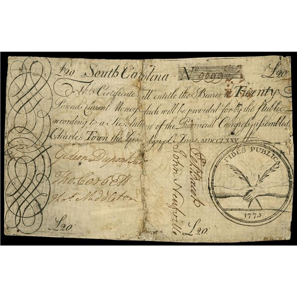 South Carolina, 20 pounds, June 1, 1775, serial 9099, backed with violin sheet music.