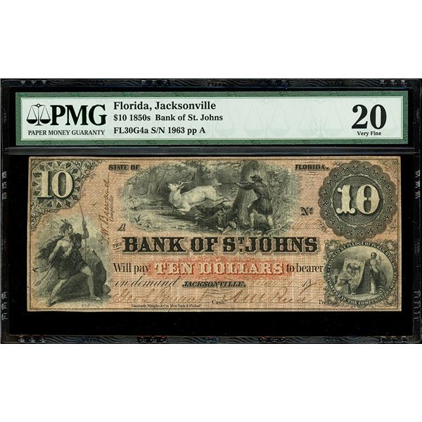 Jacksonville, Florida, Bank of St. Johns, $10, 21-3-1859, serial 1963, plate position A, PMG VF 20.