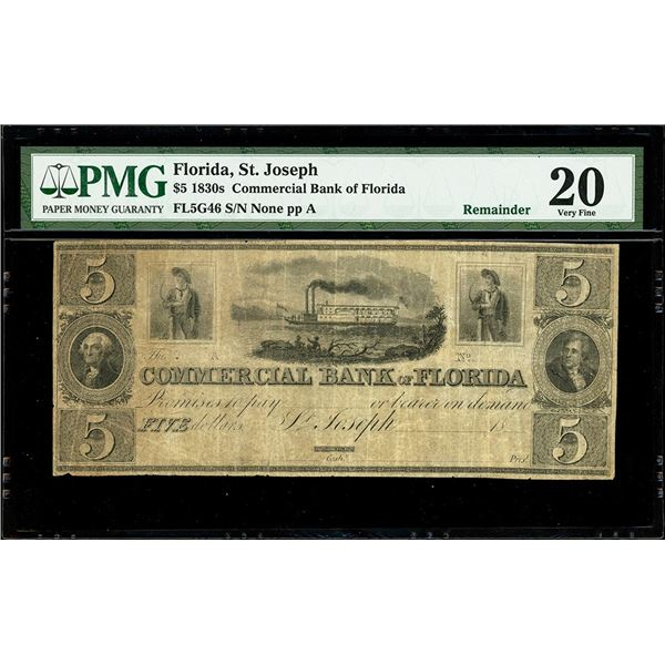 """St. Joseph, Florida, Commercial Bank, $5 remainder, 18XX (1830s), plate position A, PMG VF 20, """"top"""