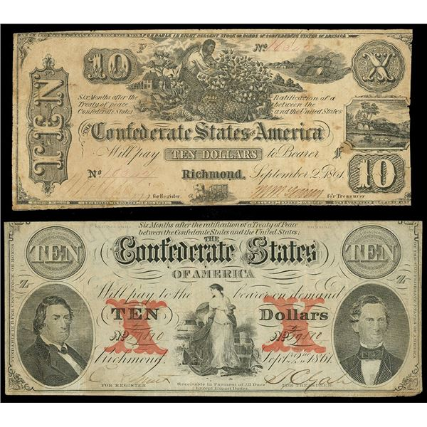 Lot of two CSA $10 notes of Sept. 2, 1861: serial 39810, plate position Z-Z, block CSA watermark; se