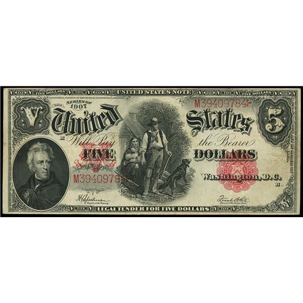 """USA, United States Note, """"woodchopper"""" $5, series of 1907, Speelman-White, serial M39409784."""