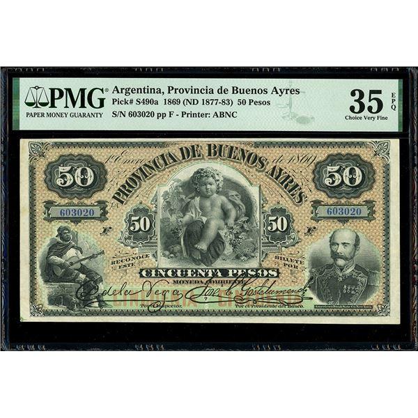 Buenos Aires, Argentina, Provincia de Buenos Ayres, 50 pesos, 1-1-1869 (1877-83), serial 603020, pla