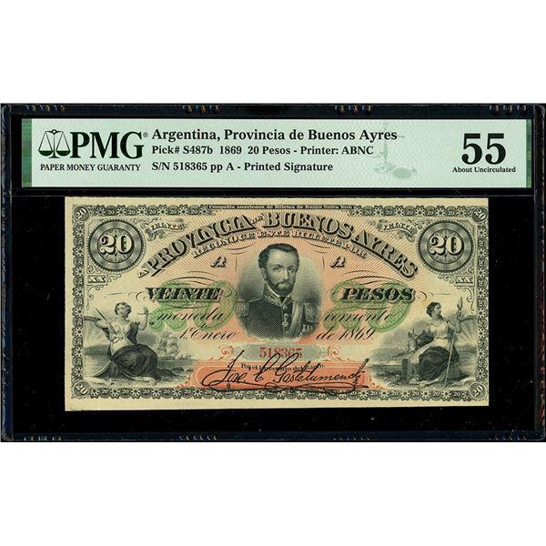 Buenos Aires, Argentina, Provincia de Buenos Ayres, 20 pesos, 1-1-1869, serial 518365, plate A, PMG