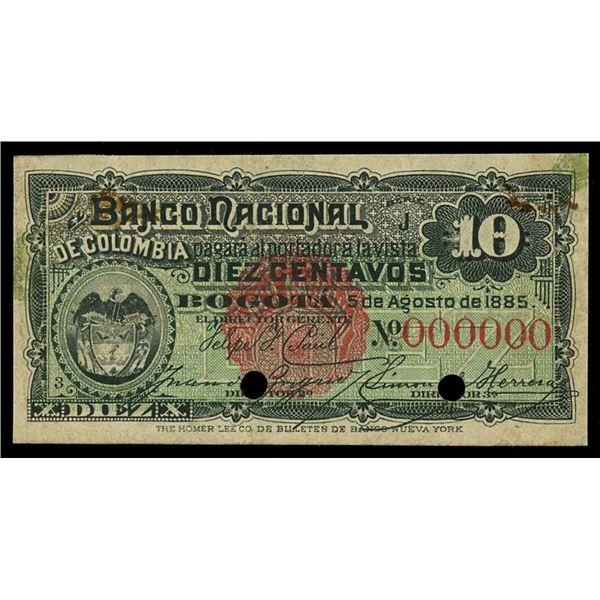 Bogota, Colombia, Banco Nacional, 10 centavos specimen, 5-8-1885.