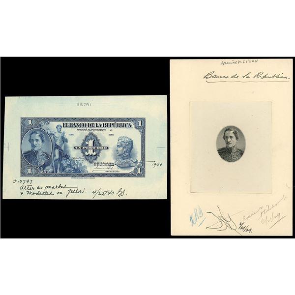 Bogota, Colombia, Banco de la Republica, 1 peso oro front essay, 1929, with proof vignette, ex-Eldo