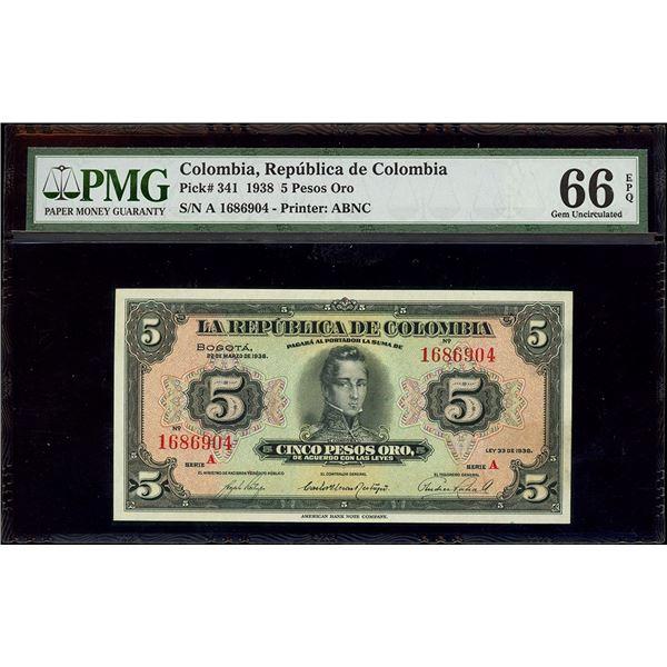 Bogota, Colombia, Republica de Colombia, 5 pesos oro, 22-3-1938, series A, serial 1686904, PMG Gem U