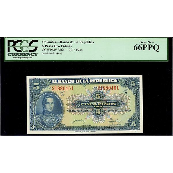 Bogota, Colombia, Republica de Colombia, 5 pesos oro, 20-7-1944, series M, serial 21880461, PCGS Gem