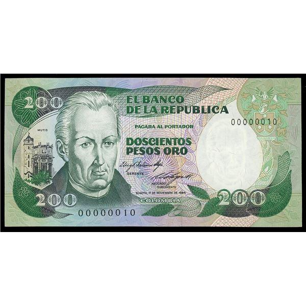 Bogota, Colombia, Banco de la Republica, 200 pesos oro, 1-11-1984, serial 00000010, very low serial