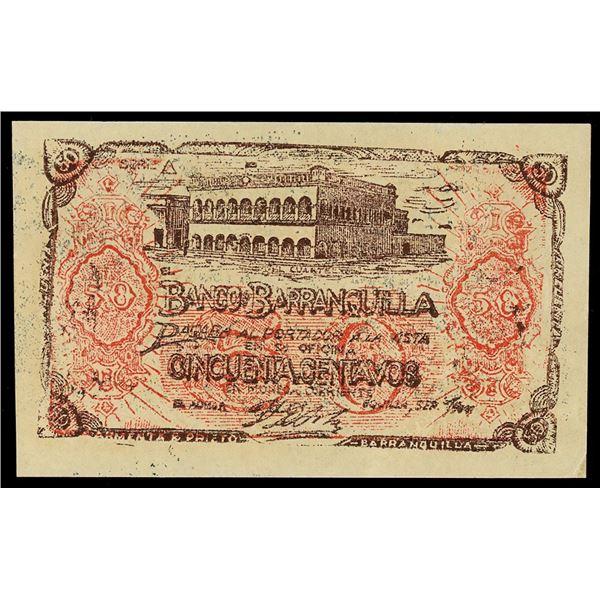 Barranquilla, Colombia, Banco de Barranquilla, 50 centavos, September 1900, serial 242344.