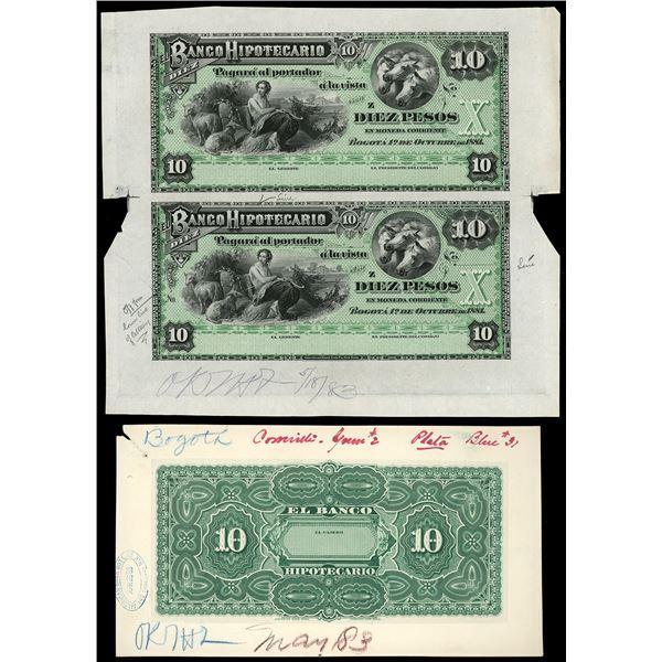 Set of Bogota, Colombia, Banco Hipotecario, 10 pesos front and back proofs, 1881, series Z, ex-Eldor