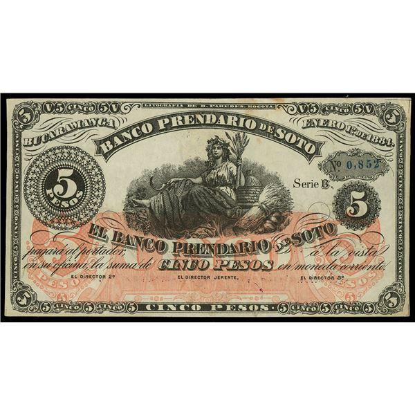 Bucaramanga, Colombia, Banco Prendario de Soto, 5 pesos, 1-9-1886, series B, serial 0852.