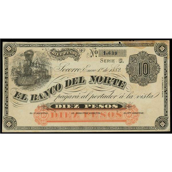 Socorro, Colombia, Banco del Norte, 10 pesos remainder, 1-1-1882, series C, serial 1639.
