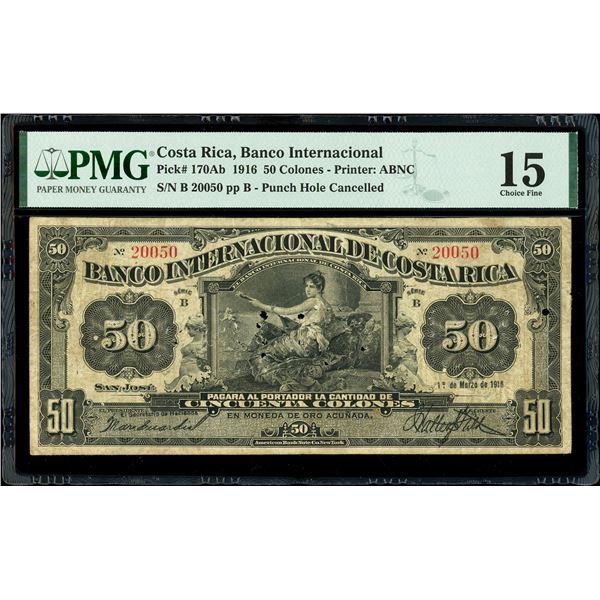 San Jose, Costa Rica, Banco Internacional, 50 colones, 1-3-1916, series B, serial 20050, PMG Choice