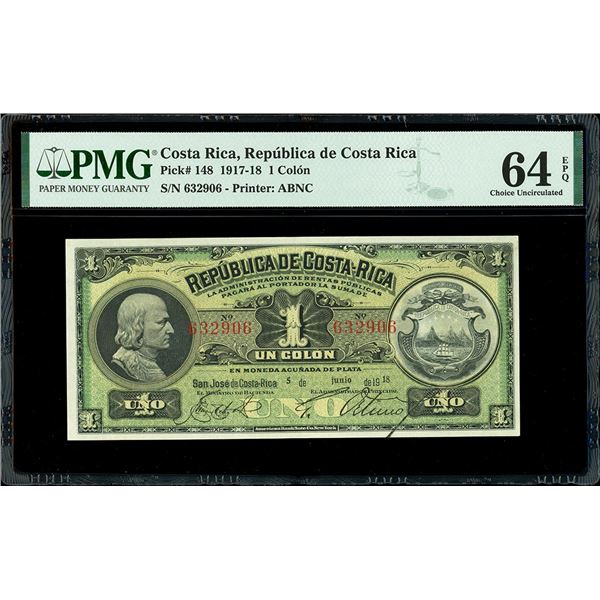 San Jose, Costa Rica, Republica de Costa Rica, 1 colon, 5-6-1918, serial 632906, PMG Choice UNC 64 E