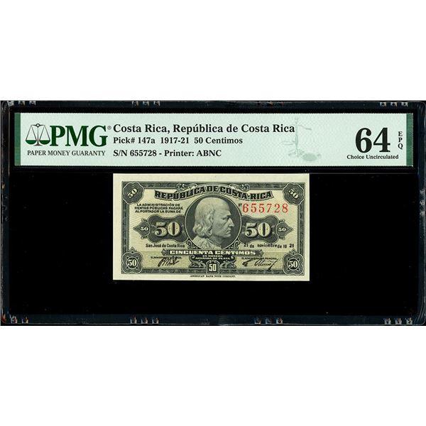 San Jose, Costa Rica, Republica de Costa Rica, 50 centimos, 21-11-1921, serial 655728, PMG Choice UN