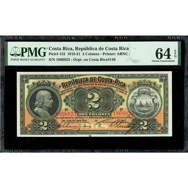 San Jose, Costa Rica, Republica de Costa Rica, 2 colones, 2-3-1921, serial 1868823, black overprint,