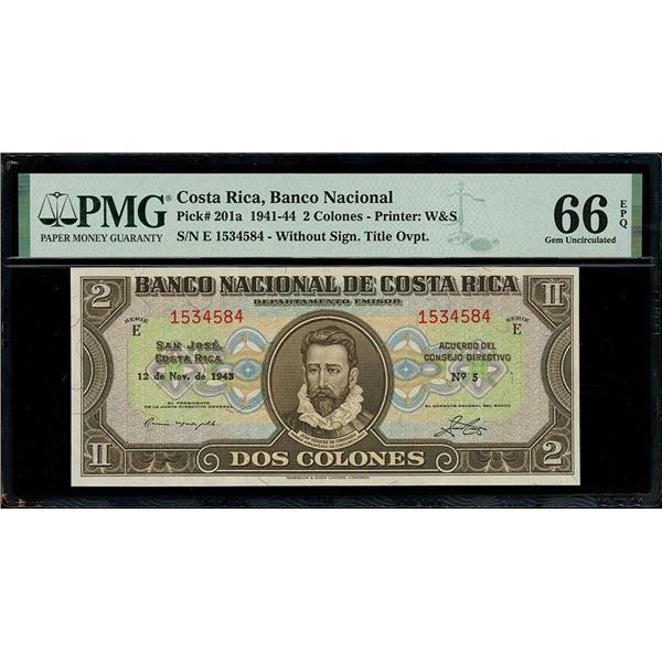 San Jose, Costa Rica, Banco Nacional, 2 colones, 12-11-1943, series E, serial 1534584, without signa