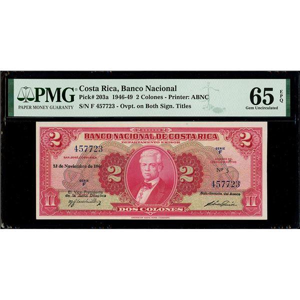 San Jose, Costa Rica, Banco Nacional, 2 colones, 13-11-1946, series F, serial 457723, with sub-geren