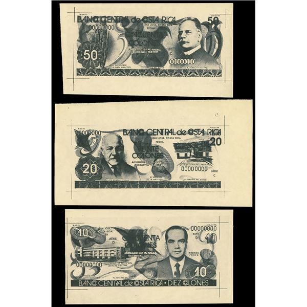 Set of Costa Rica, Banco Central, photographic essays on manila paper dated 8-20-1971: 50 colones, s