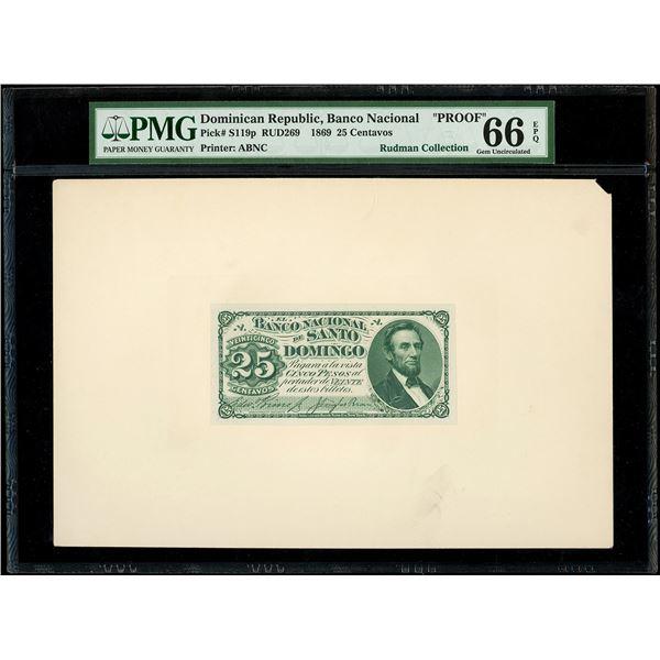 Santo Domingo, Dominican Republic, Banco Nacional, 25 centavos front proof, 1869, PMG Gem UNC 66 EPQ