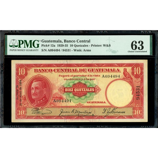Guatemala, Banco Central, 10 quetzales, 21-4-1934, serial A094494 / 94531, PMG Choice UNC 63, finest