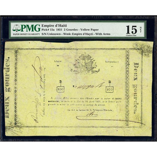 Haiti, Empire of Haiti, 2 gourdes, 16-4-1851, PMG Choice Fine 15 net / previously mounted, ex-Rudman