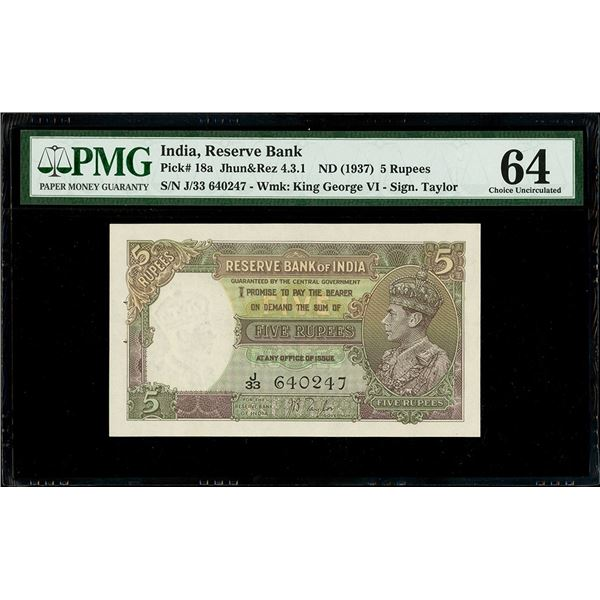 India (British), Reserve Bank, 5 rupees, no date (1937), George VI, serial J/33 640247, signer Taylo